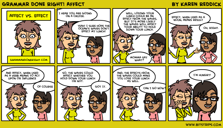 A comic depicting two women who talk about affect and effect.
