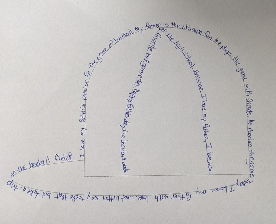 A handmade visual poem depicting a baseball cap formed from the lines of the poem.