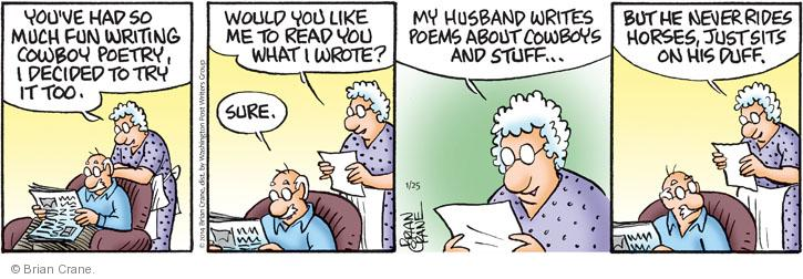 Comic strip depicting a woman reading poetry to her husband.