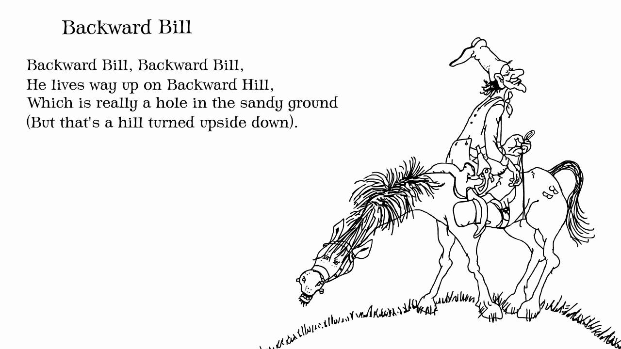 A descriptive poem with a drawing of a funny man on a funny horse.