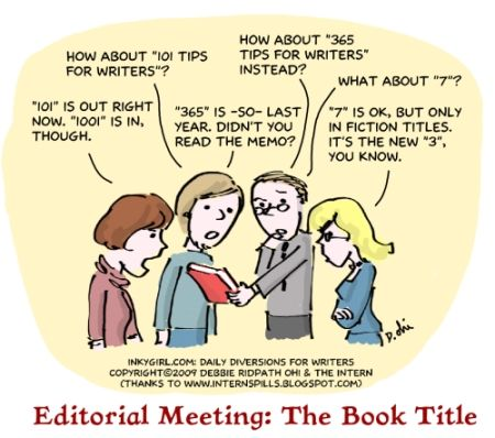 Cartoon depicting a group deciding on a title for a book.