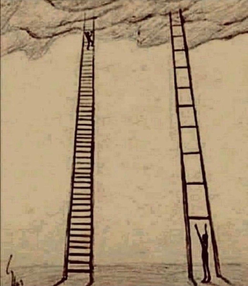 Comic depicting two ladders. Rungs close together lead person to the top. Rungs spaced apart leaves person on ground.