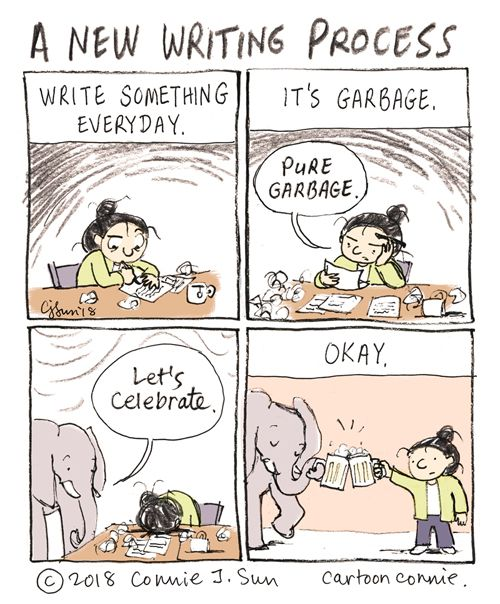 Comic depicting a woman writing what she thinks is garbage. She celebrates anyway.