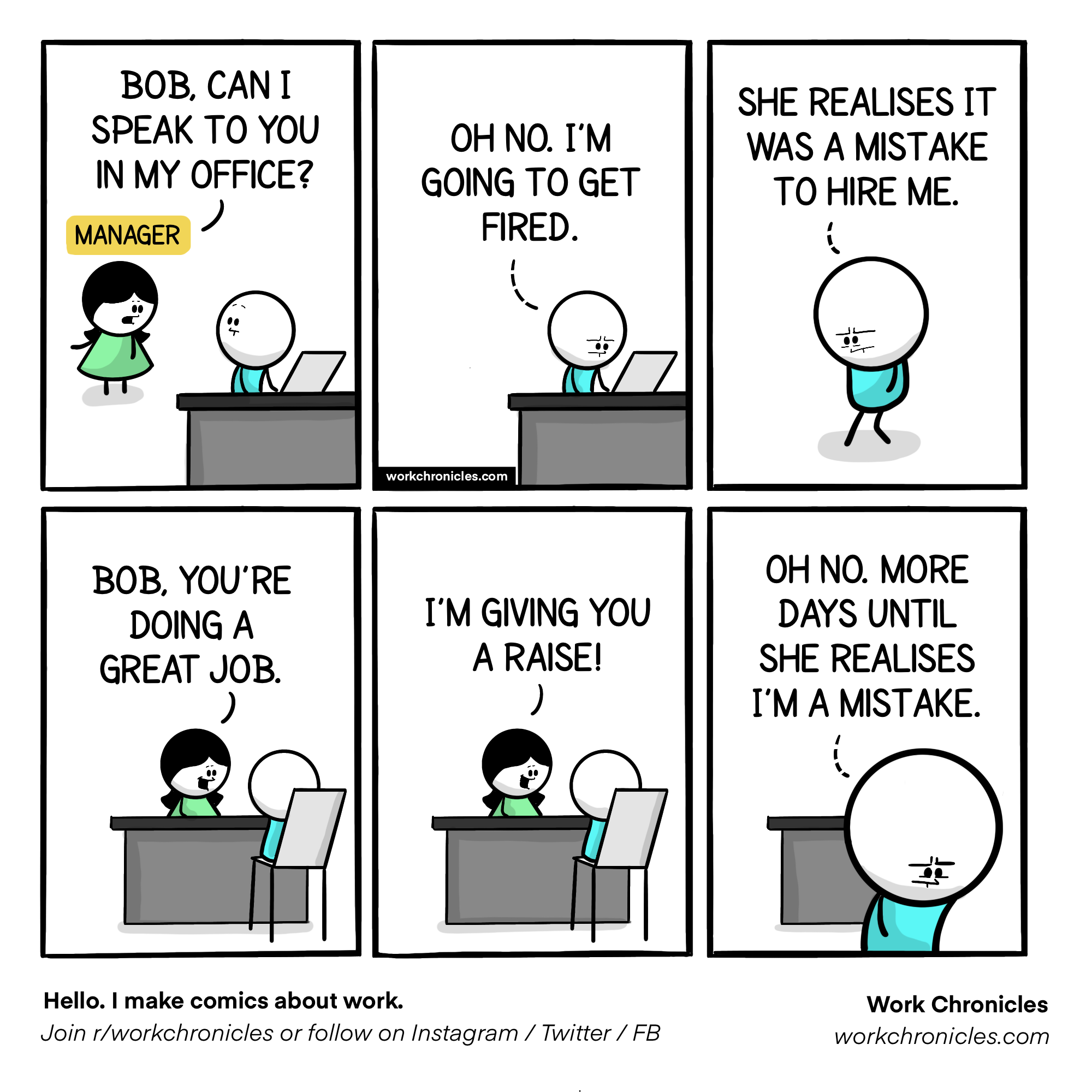 Comic where a boss praises a worker and he thinks she hates his work.