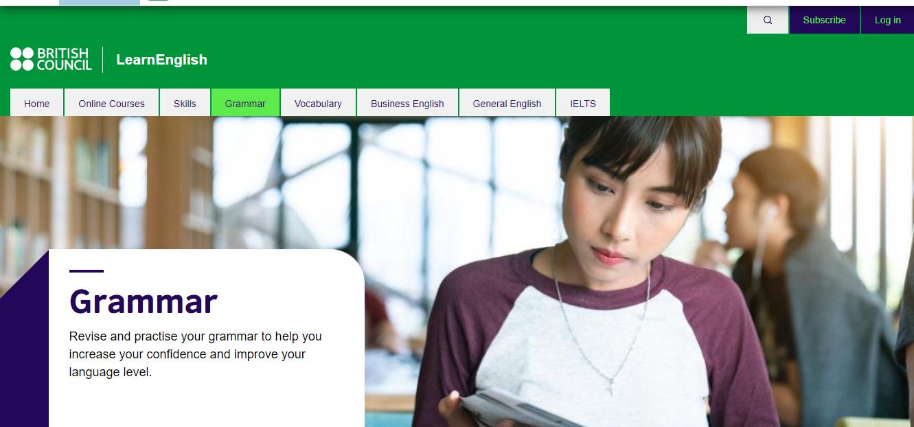 A screenshot The British Council's grammar website