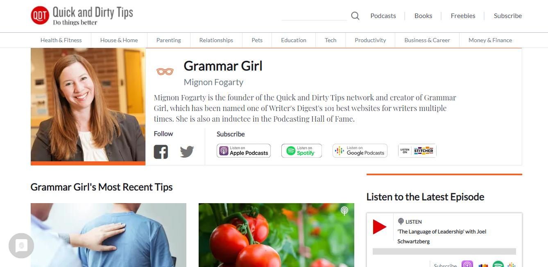 A screenshot of Grammar Girl's website
