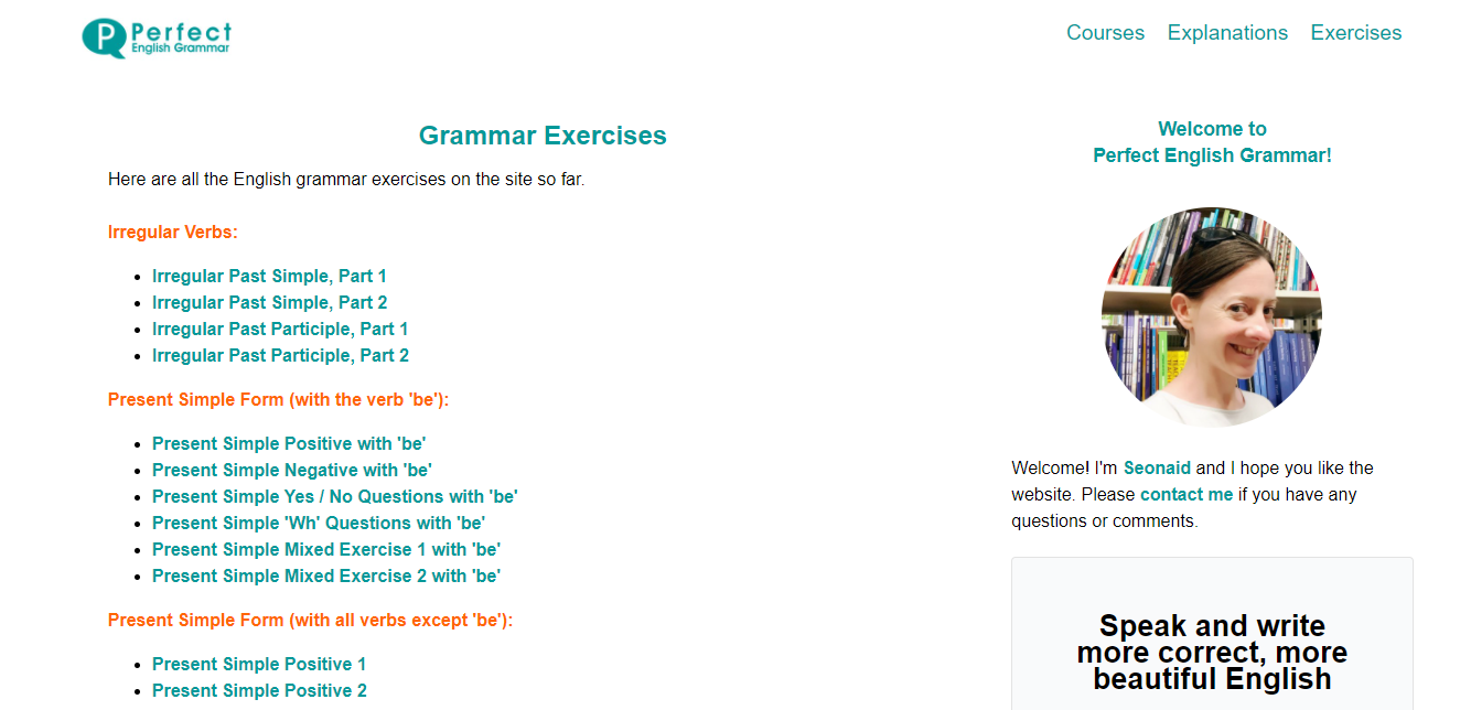 Screenshot of Perfect English Grammar's site