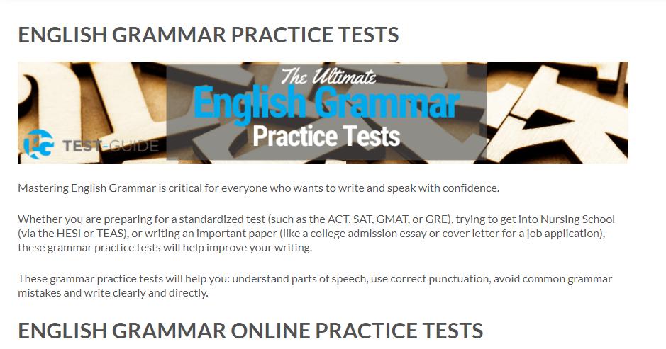 Screenshot of Test Guide's website