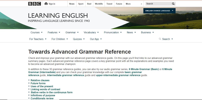 Screenshot of BBC's site