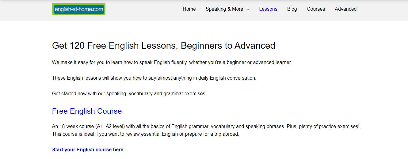 Screenshot of English at Home's site