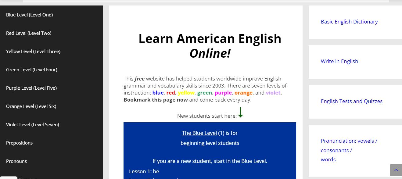 Screenshot of Learning American English online